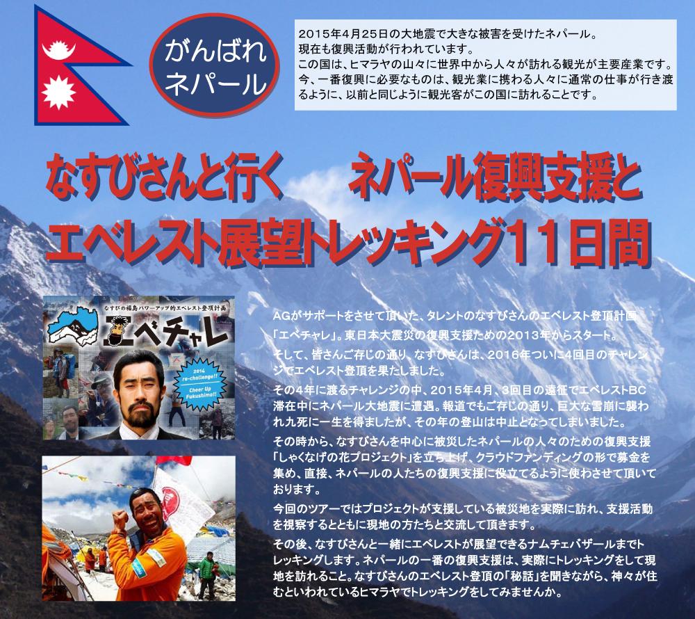 なすびさんと行くネパール復興支援・エベレスト展望トレッキング11日間